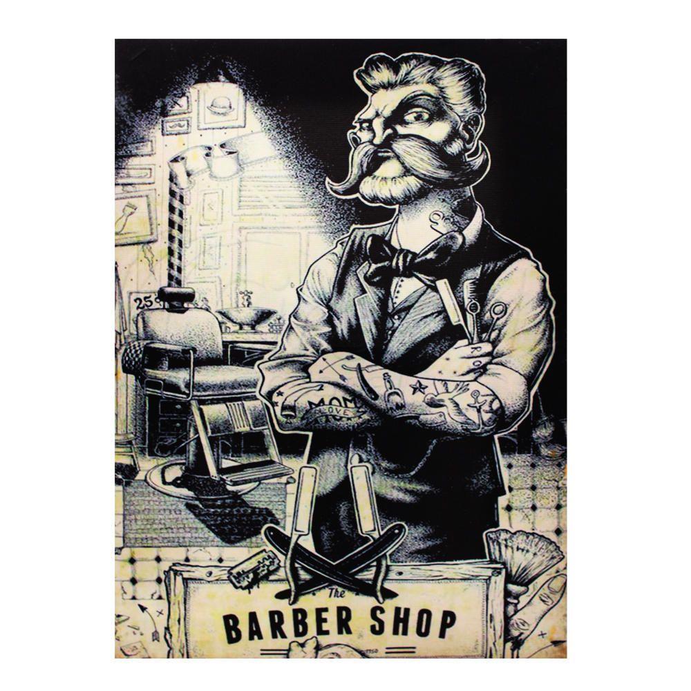 Decoração - Quadro Decorativo 42x28cm Sem Moldura Barbearia Barber Shop (Quartos, Cozinhas, Salas, Bares)