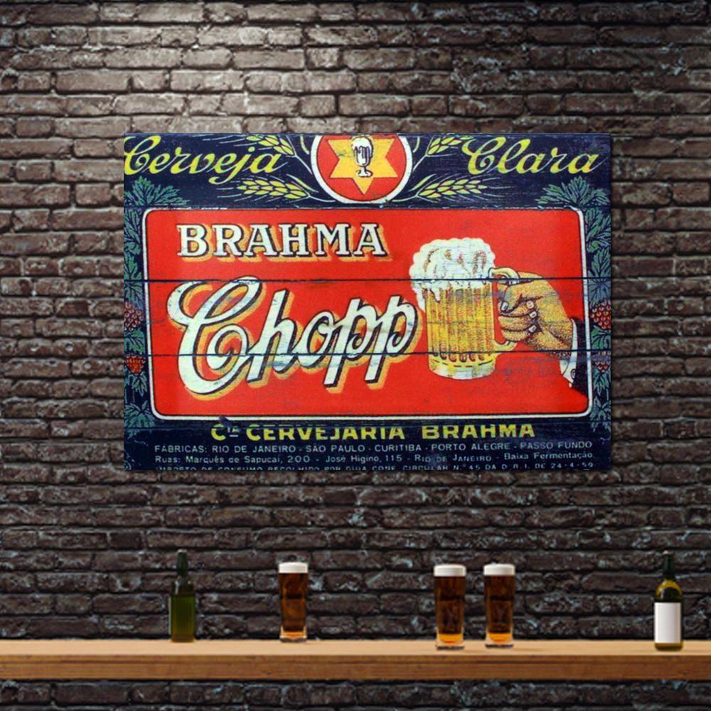Decoração - Quadro Decorativo 42x28cm Sem Moldura Cerveja Brahma Chopp (Quartos, Cozinhas, Salas, Bares)