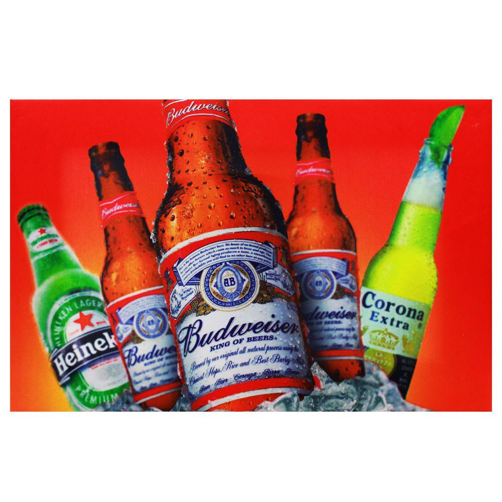 Decoração - Quadro Decorativo 42x28cm Sem Moldura Cervejas Heineken, Budweiser e Corona Extra (Quartos, Cozinhas, Salas, Bares)
