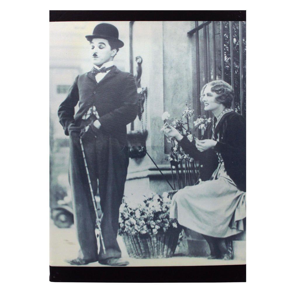 Decoração - Quadro Decorativo 42x28cm Sem Moldura Charlie Chaplin (Quartos, Cozinhas, Salas, Bares)