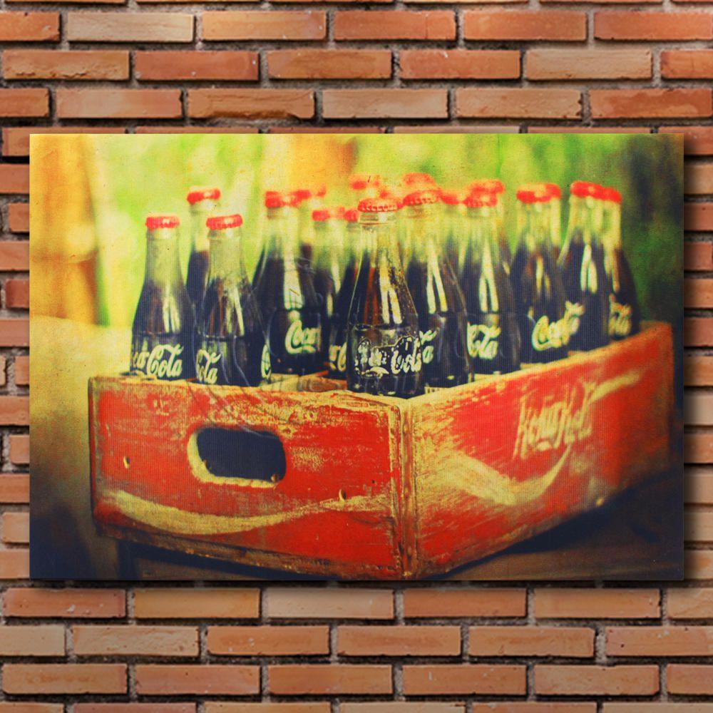 Decoração - Quadro Decorativo 42x28cm Sem Moldura Engradado de Coca-Cola (Quartos, Cozinhas, Salas, Bares)
