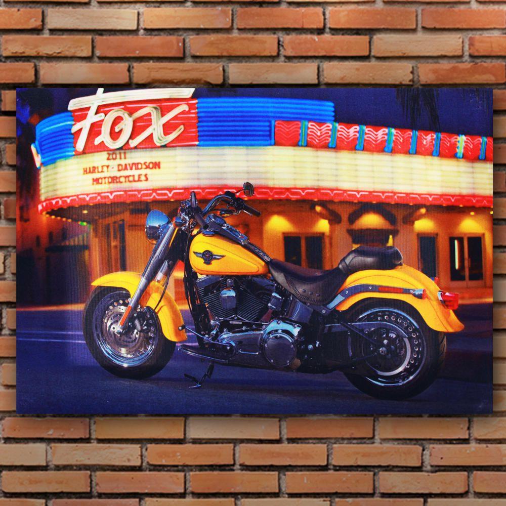 Decoração - Quadro Decorativo 42x28cm Sem Moldura Moto Harley Davidson Lateral (Quartos, Cozinhas, Salas, Bares)