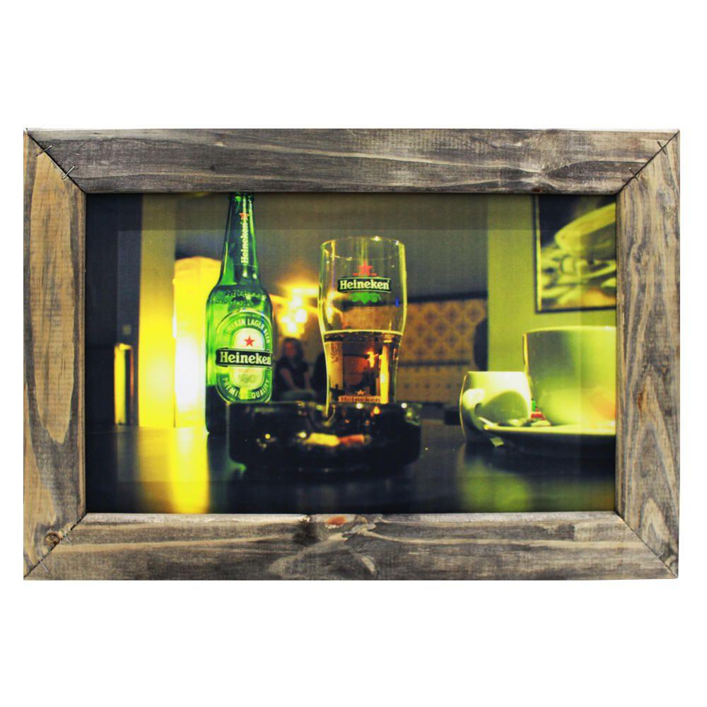 Kit 3 Quadros Decorativos Londres Cerveja Heineken Ponte 48x32cm Sala Quarto