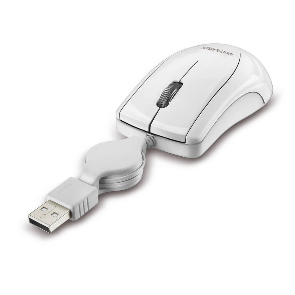 Mouse Retratil Mini Piano Ice USB Branco Multilaser