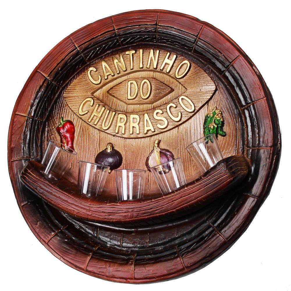 Placa Cantinho do Churrasco Pingometro Cachaça 45x45cm 250ml