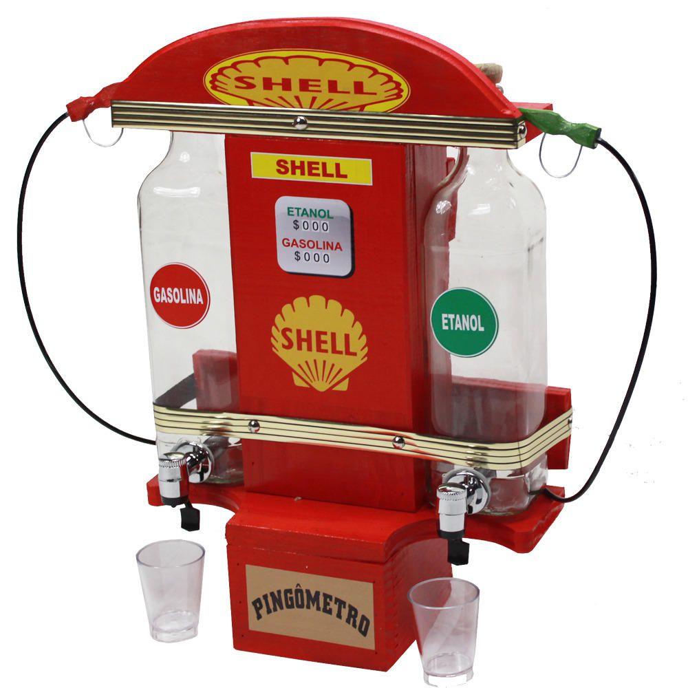 Quadro Decoração - Porta Cachaça Posto Shell Pingometro Área Churrasco Adega Bar 45x30 Cachaça 2lt