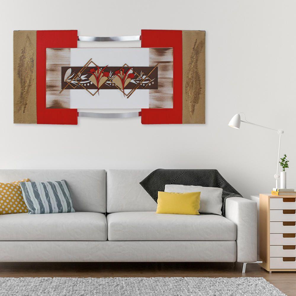 Quadro Decorativo Abstrato Flores Quarto Sala Jantar e Estar