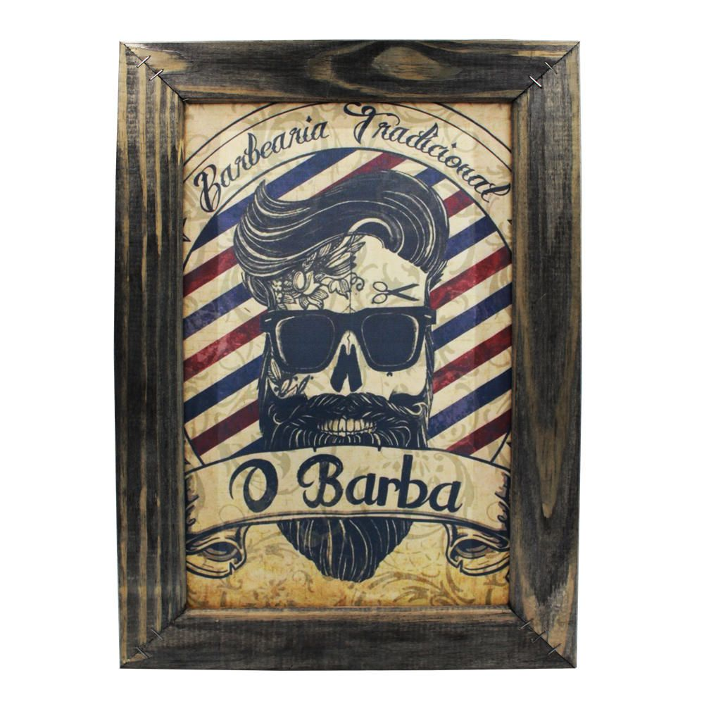 Quadro Decorativo Barbearia Barber Shop Moldura 48x32cm