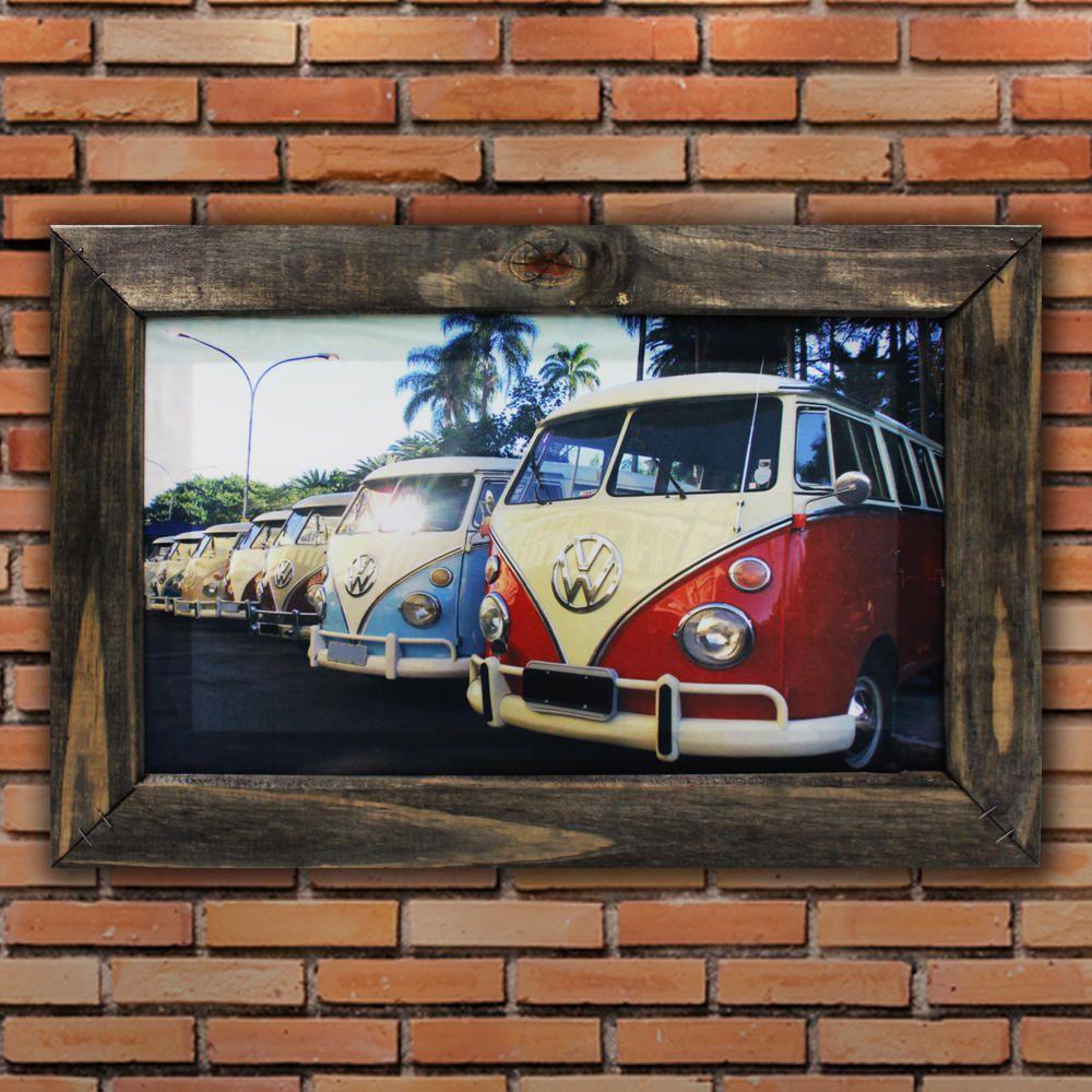 Quadro Decorativo Carros Antigos Perua Retrô Sala Quarto Moldura 32x48cm