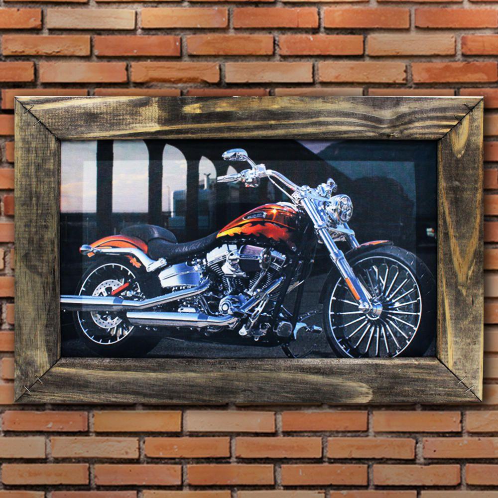 Quadro Decorativo Harley Davidson Moto Sala Quarto Moldura 32x48cm