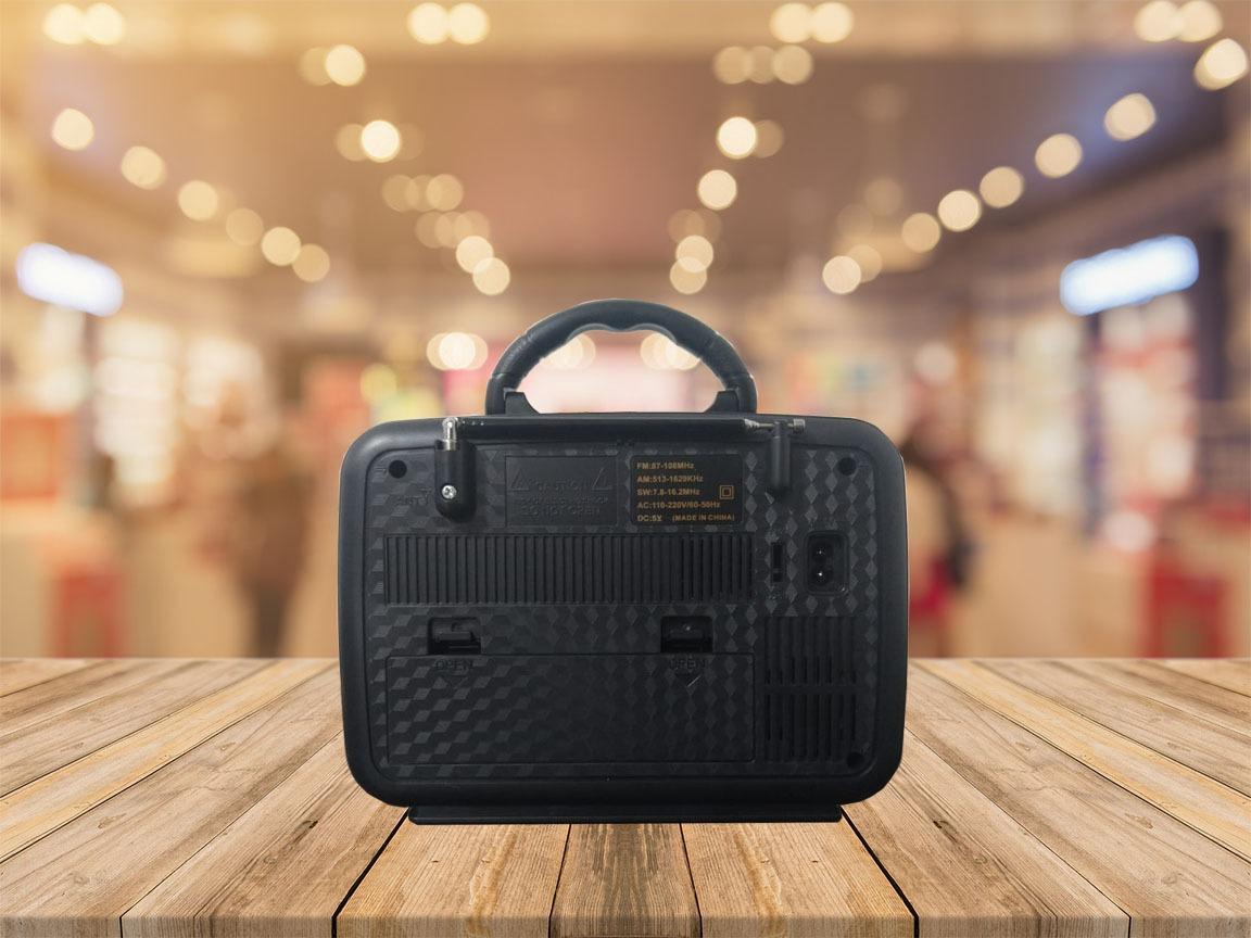 Rádio Retrô Recarregável Portátil Bluetooth Dourado Ecopower