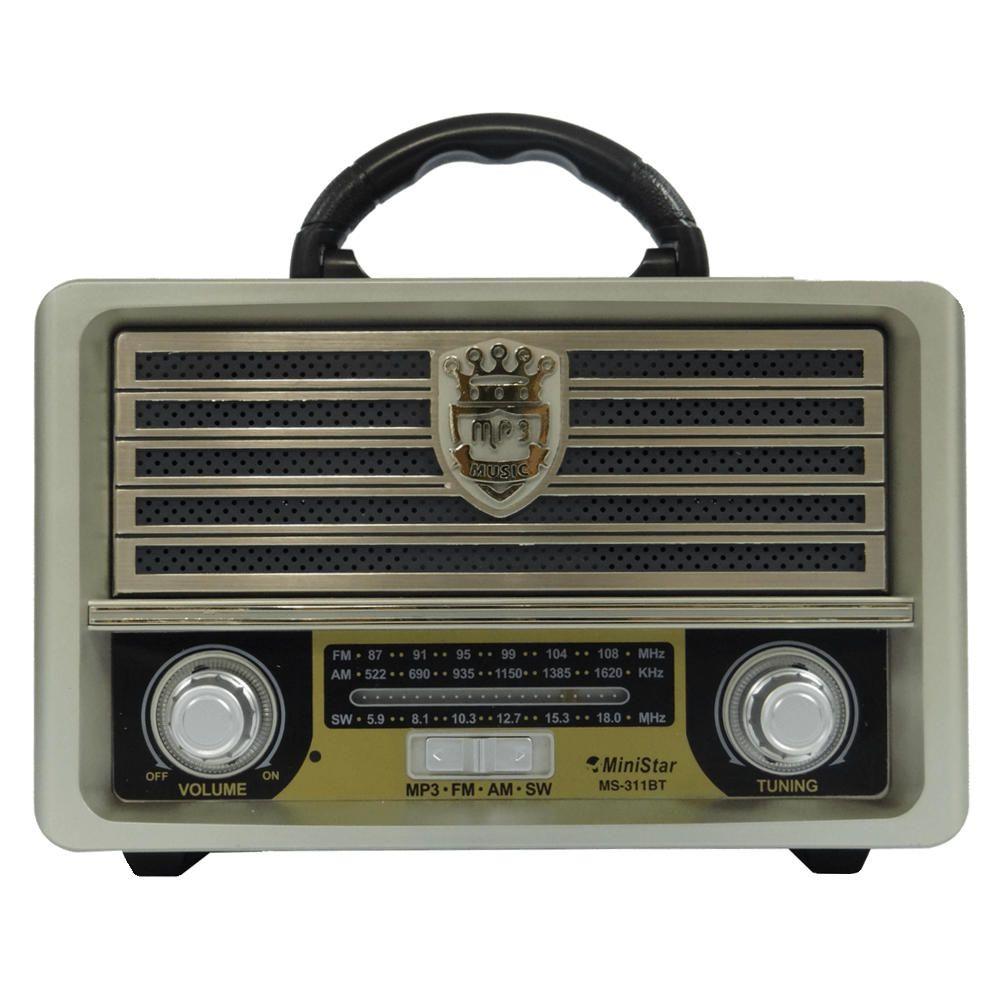 Rádio Retrô Vintage Buetooth FM Recarregável Usb Micro SD
