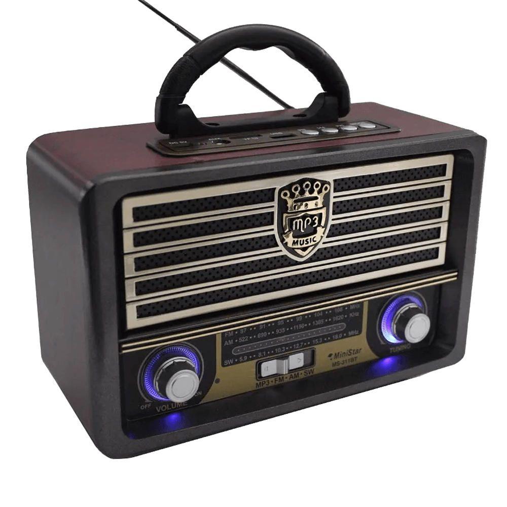 Rádio Retrô Vintage Buetooth FM Recarregável Usb Portátil