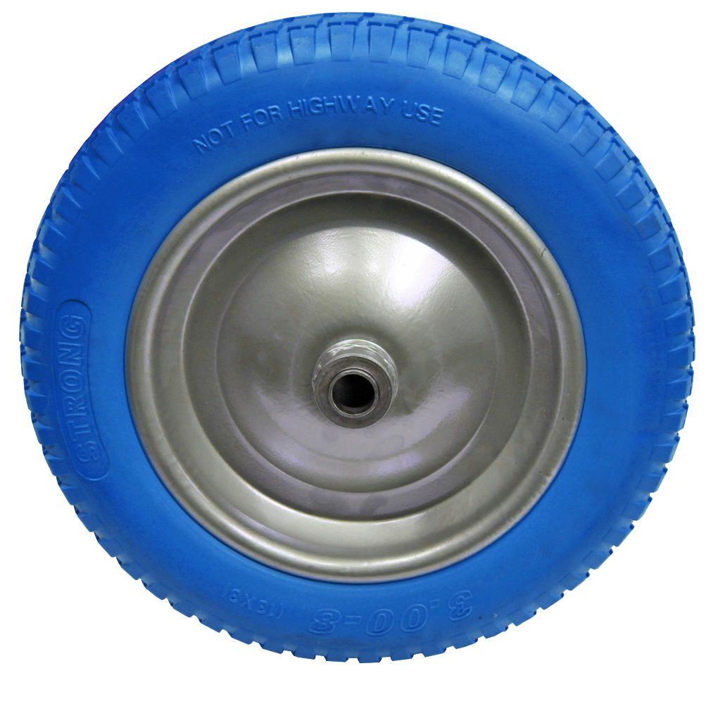 Roda Pneu Maciço Para Carrinho de Mão Azul