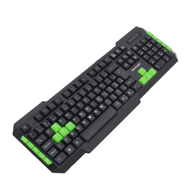 Teclado Gamer Com Hotkeys Multimidia Preto/Verde Multilaser