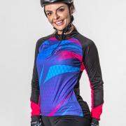 Camisa Ciclista Manga Longa Zíper Parcial Feminina Shade 04239