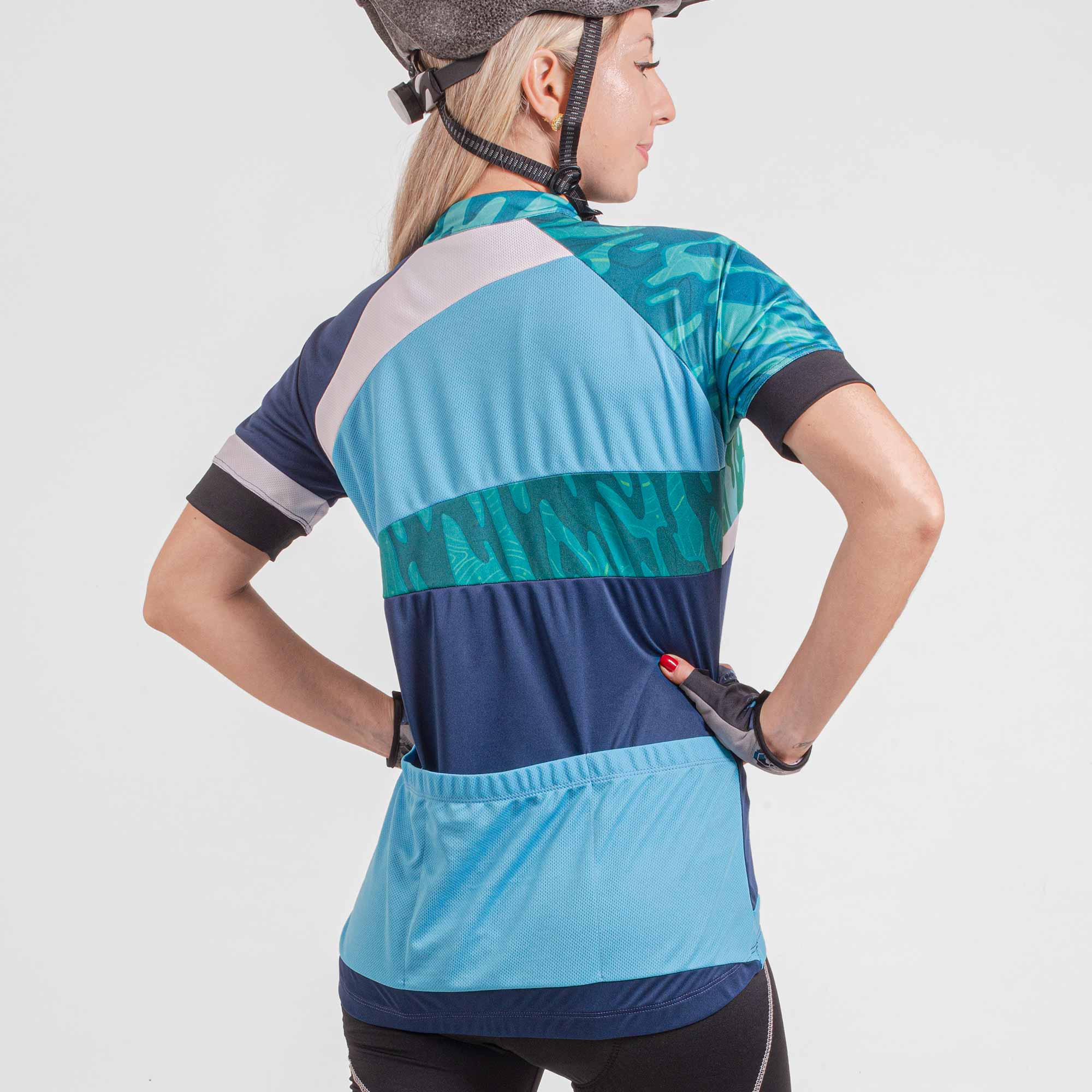 Camisa Ciclista Manga Curta Zíper Parcial Feminina Flow 04292
