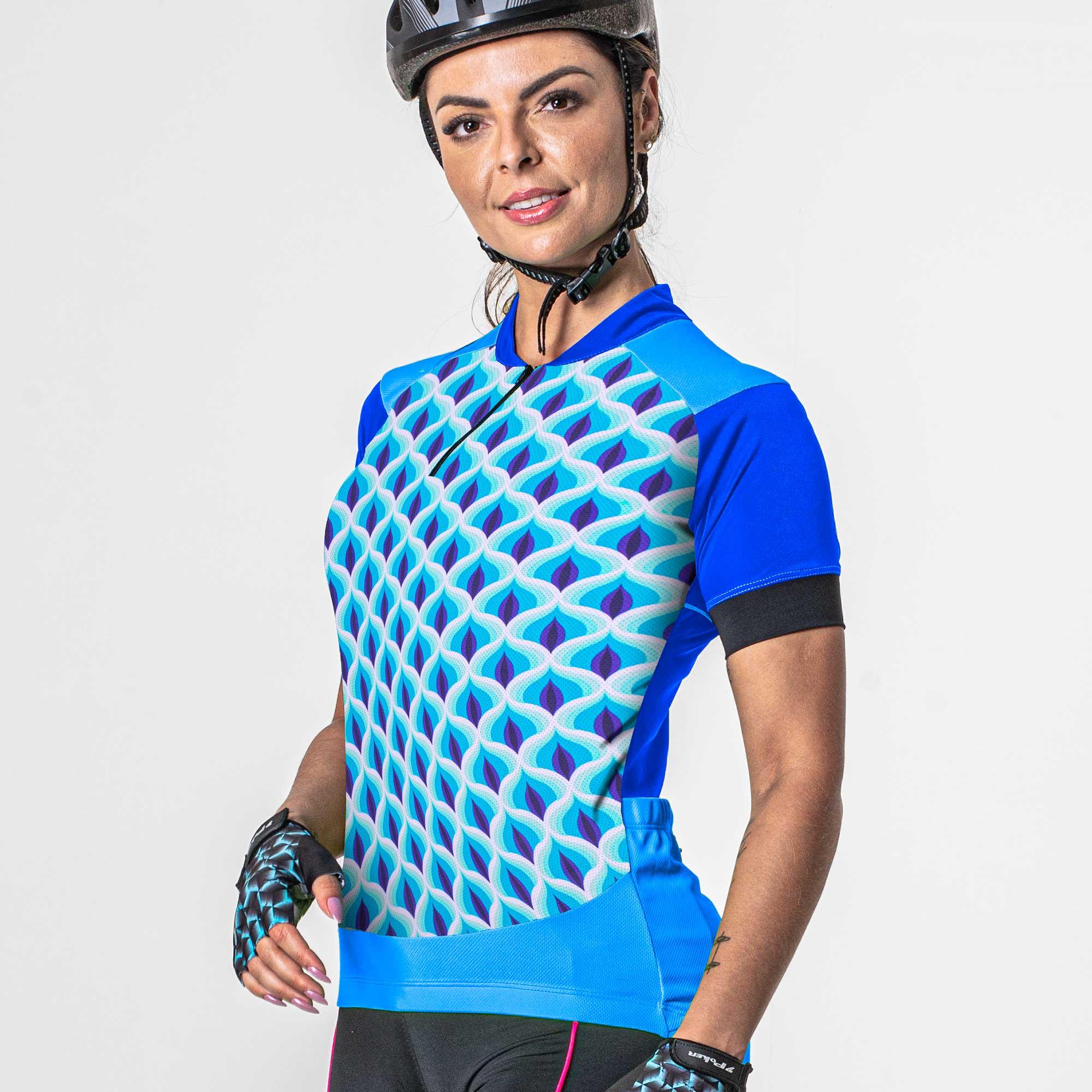 Camisa Ciclista Manga Curta Zíper Parcial Feminina Nyx 04236