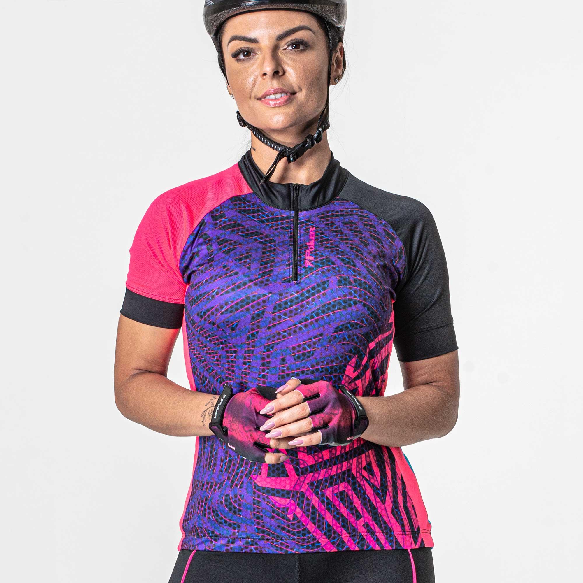 Camisa Ciclista Manga Curta Zíper Parcial Feminina Root 04237