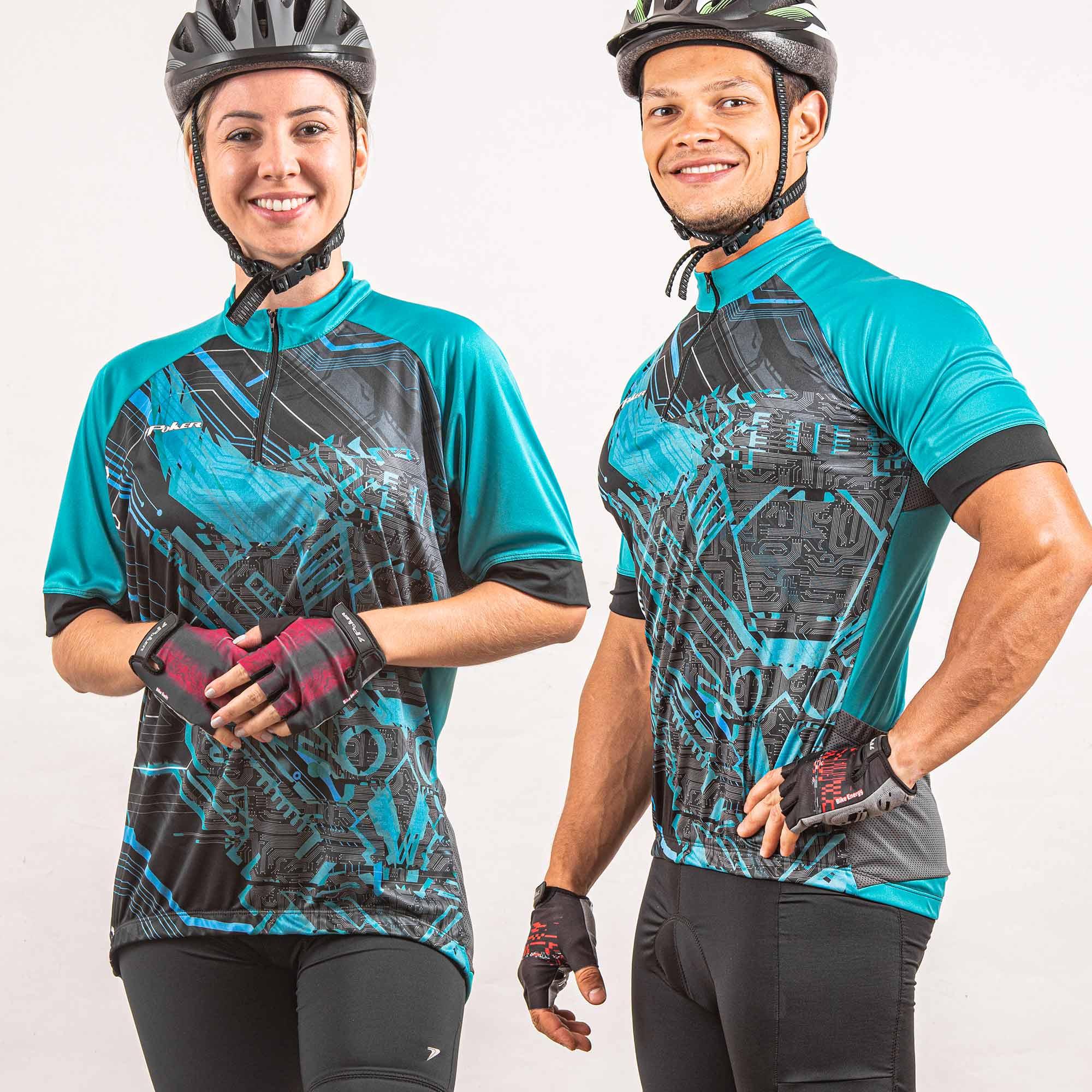 Camisa Ciclista Manga Curta Zíper Parcial Hanya 04282