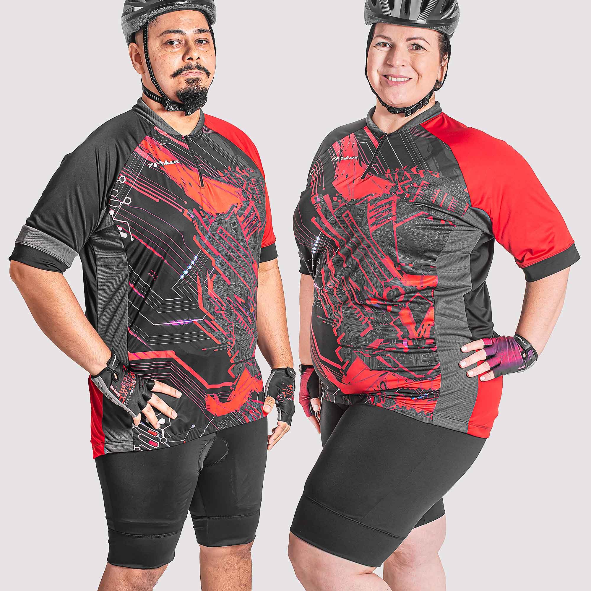 Camisa Ciclista Manga Curta Zíper Parcial Hanya Extra Grande 04287