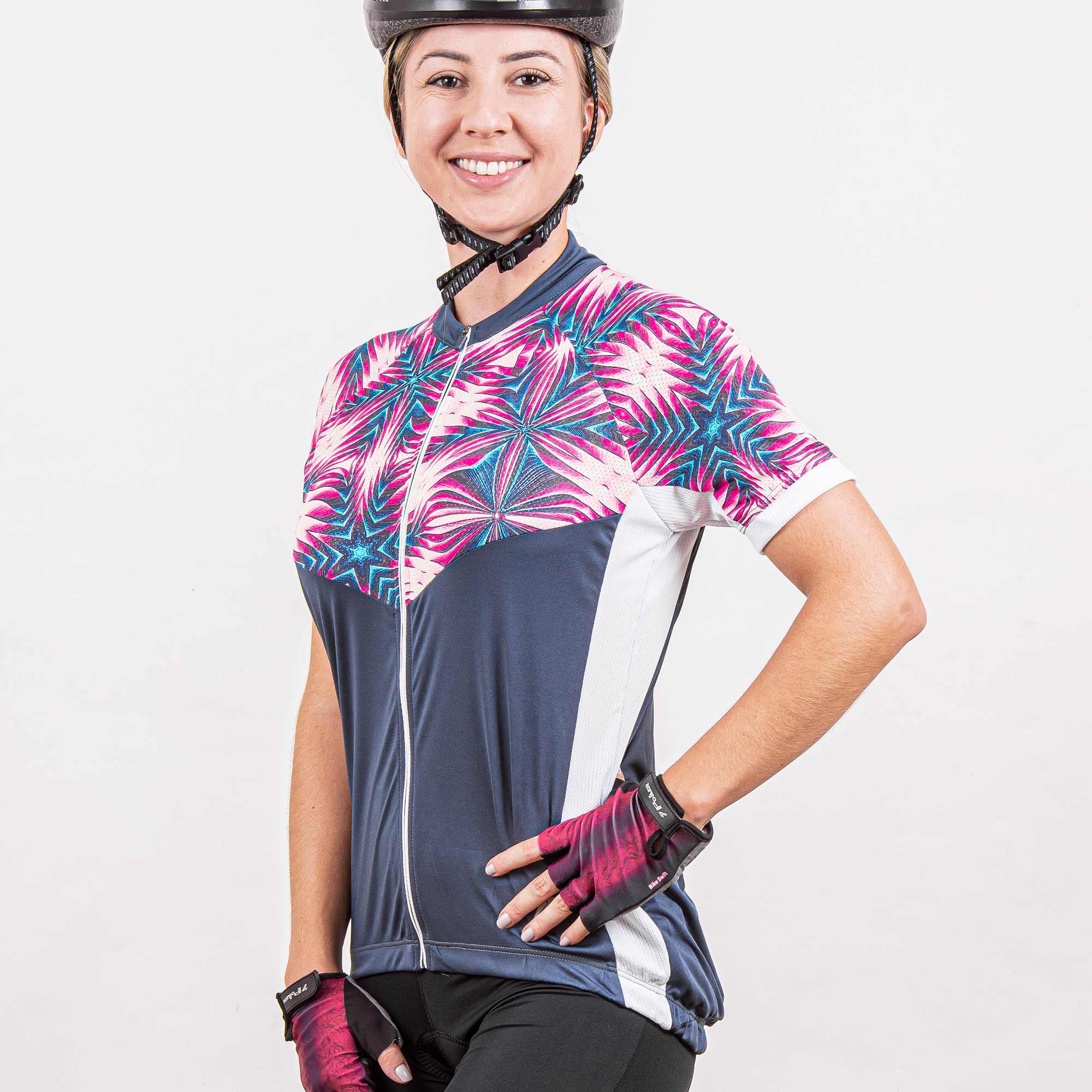 Camisa Ciclista Manga Curta Zíper Total Feminina Aura 04226