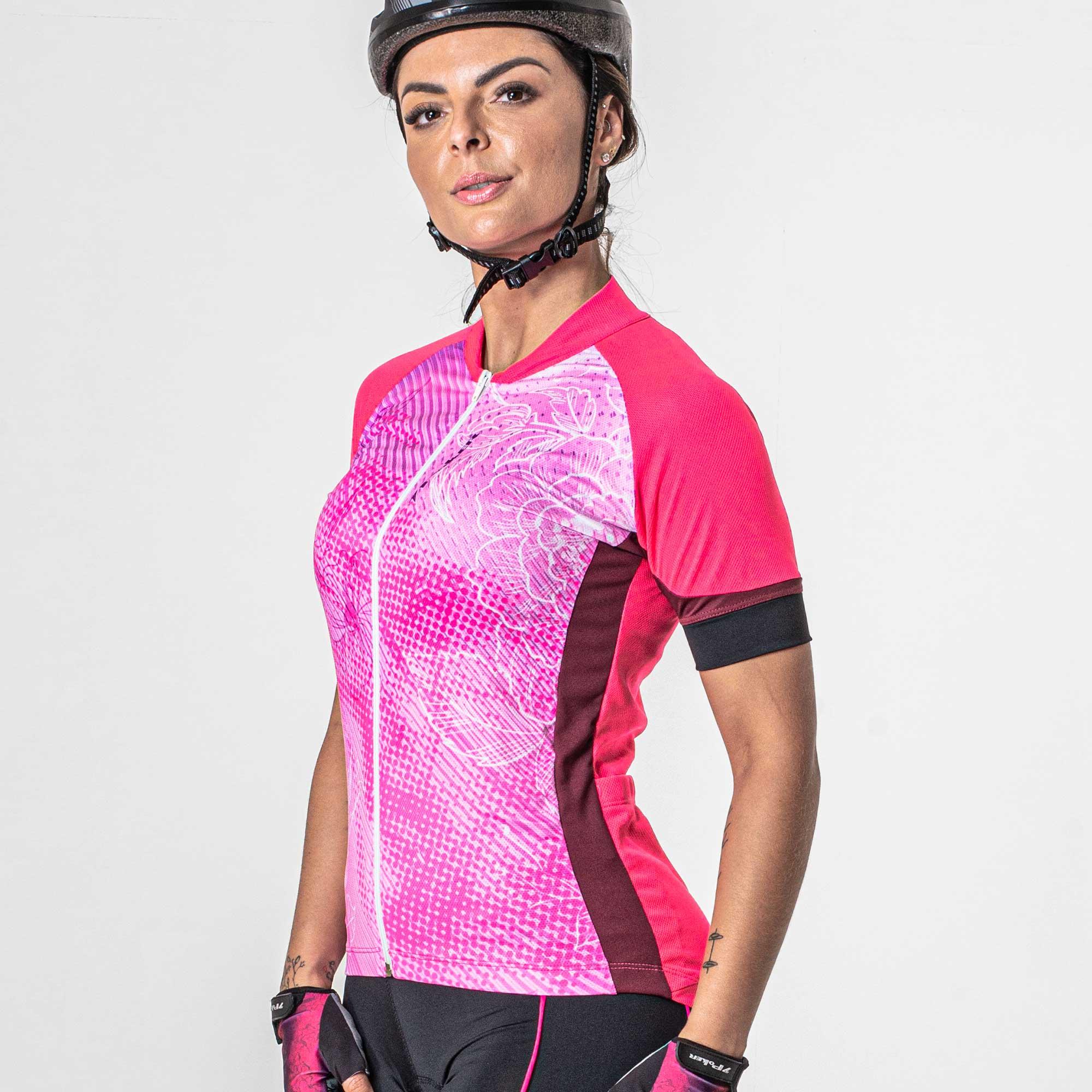 Camisa Ciclista Manga Curta Zíper Total Feminina Jewel 04238