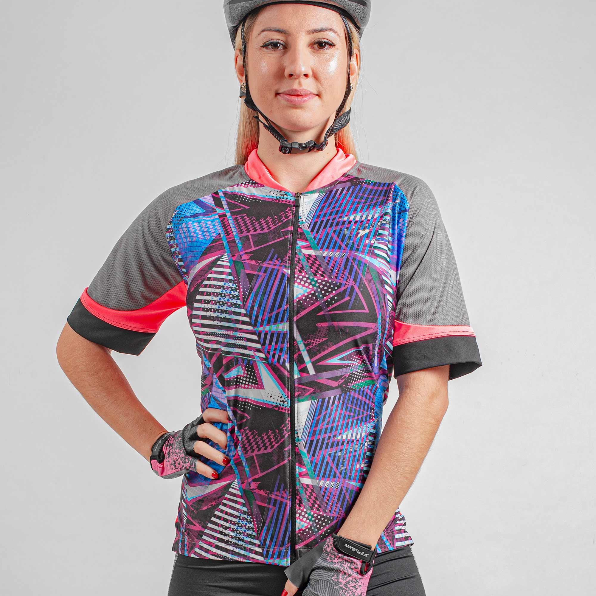 Camisa Ciclista Manga Curta Zíper Total Feminina Jewel II 04265