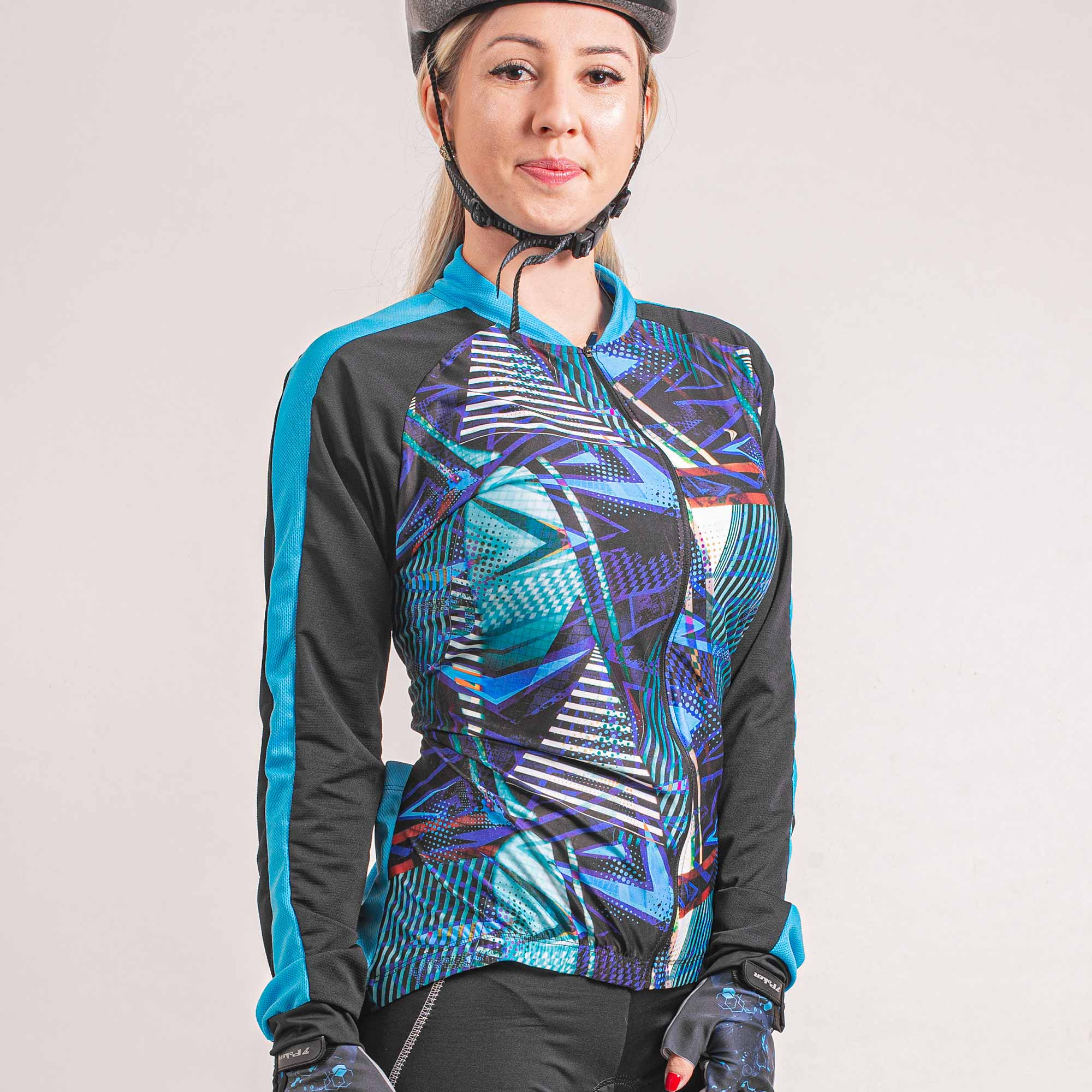 Camisa Ciclista Manga Longa Zíper Total Feminina Shine II 04264