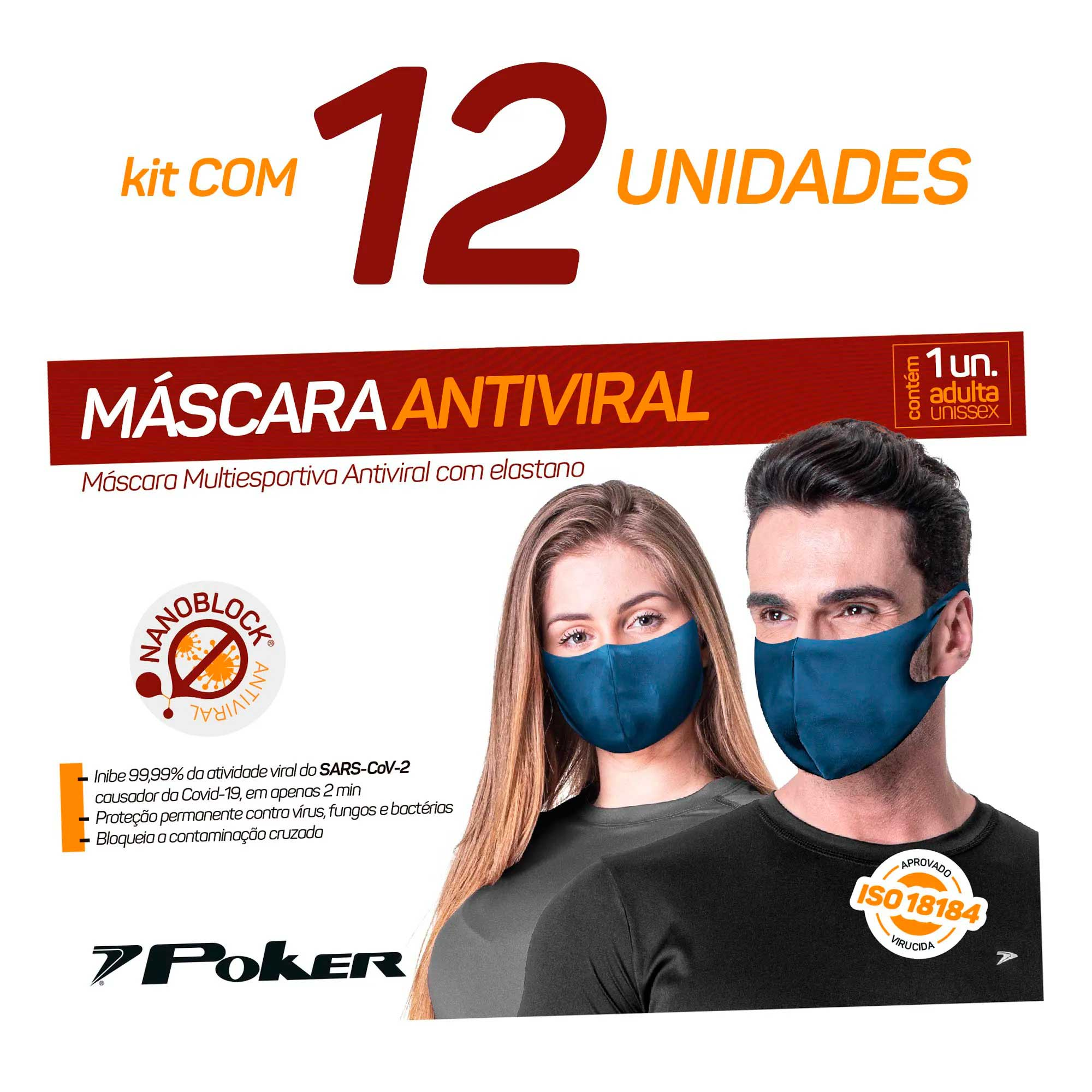 Kit 12 Máscaras Antivirais
