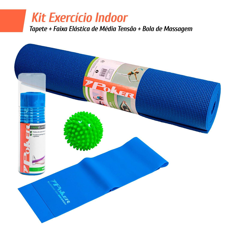 Kit Exercício Indoor - Tapete + Faixa Elástica de Média Tensão + Bola de Massagem