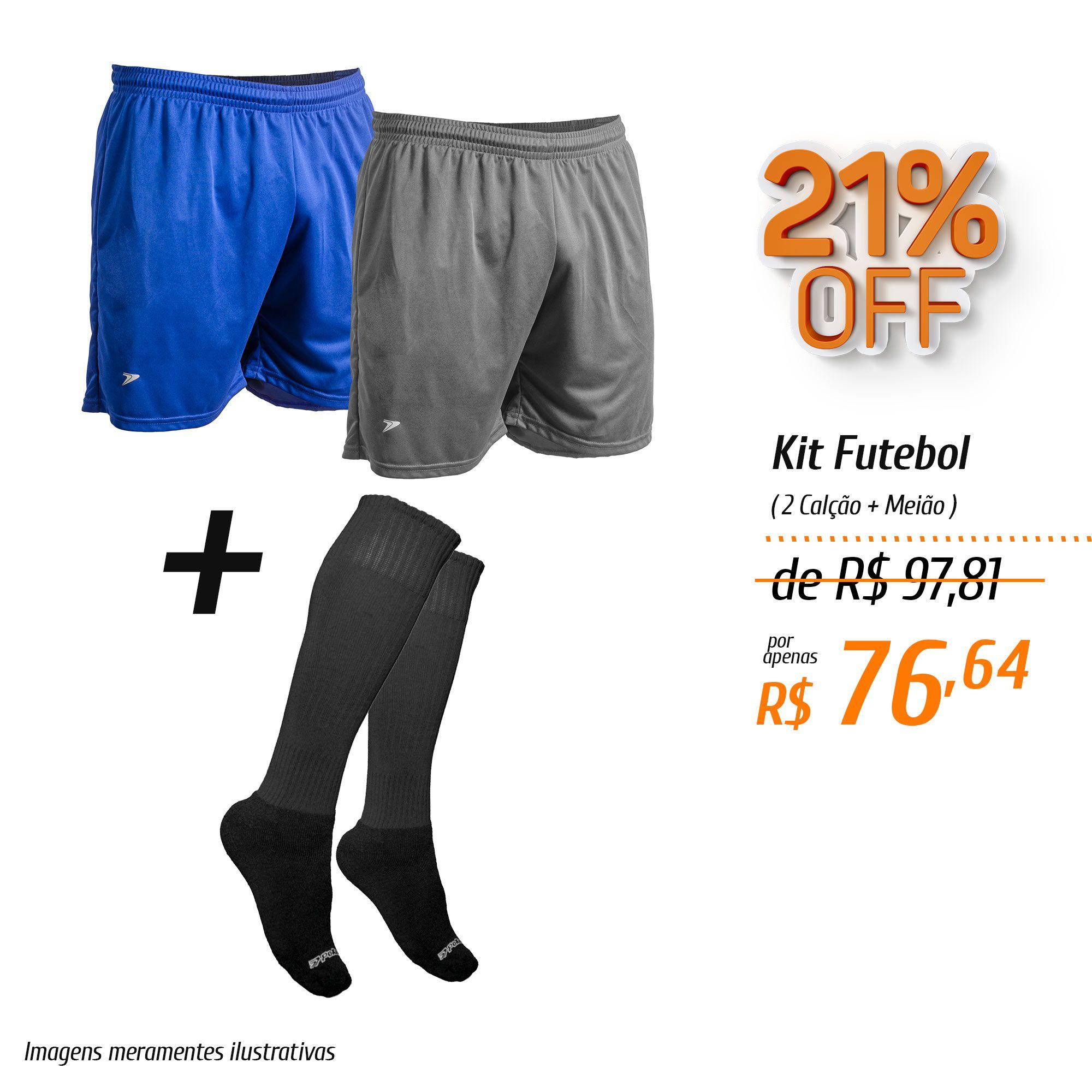 Kit Futebol Calções + Meião
