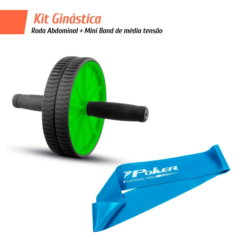 Kit Ginástica - Roda Abdominal + Mini Band de média tensão