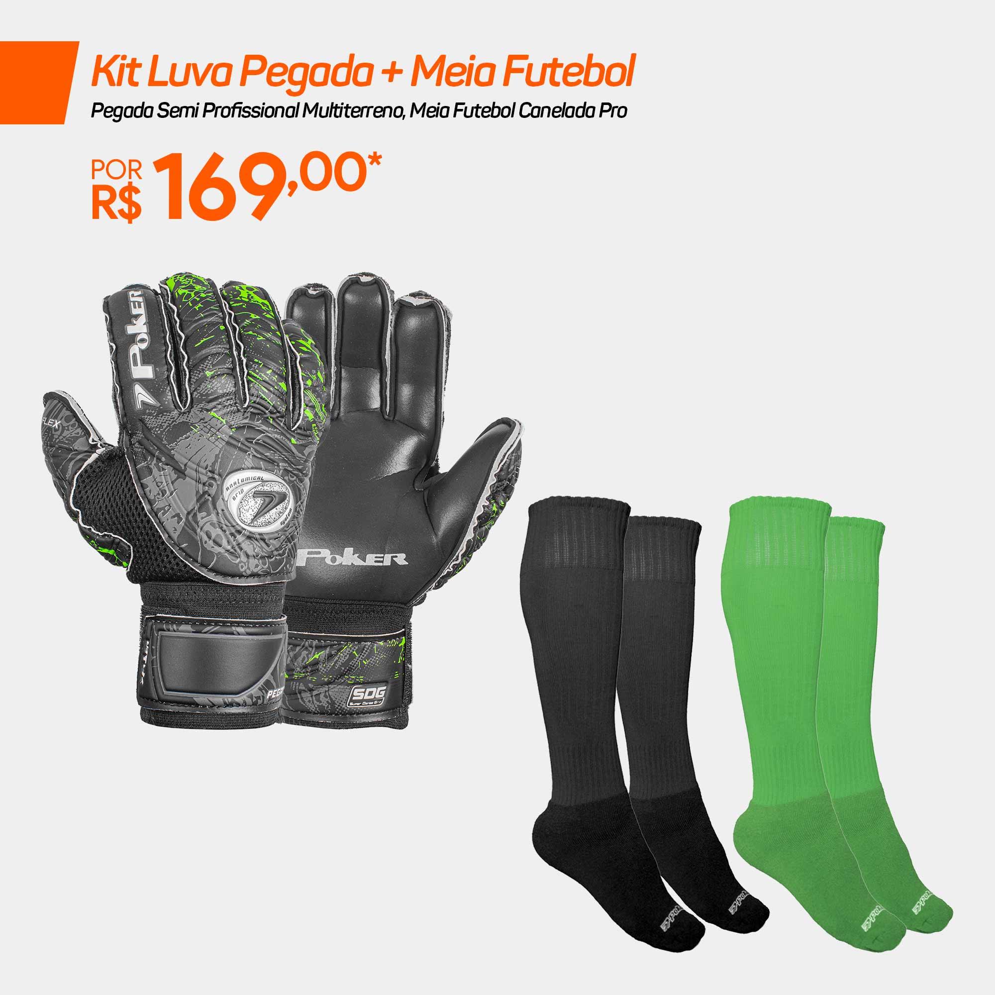 Kit Luva Pegada + Meia Futebol