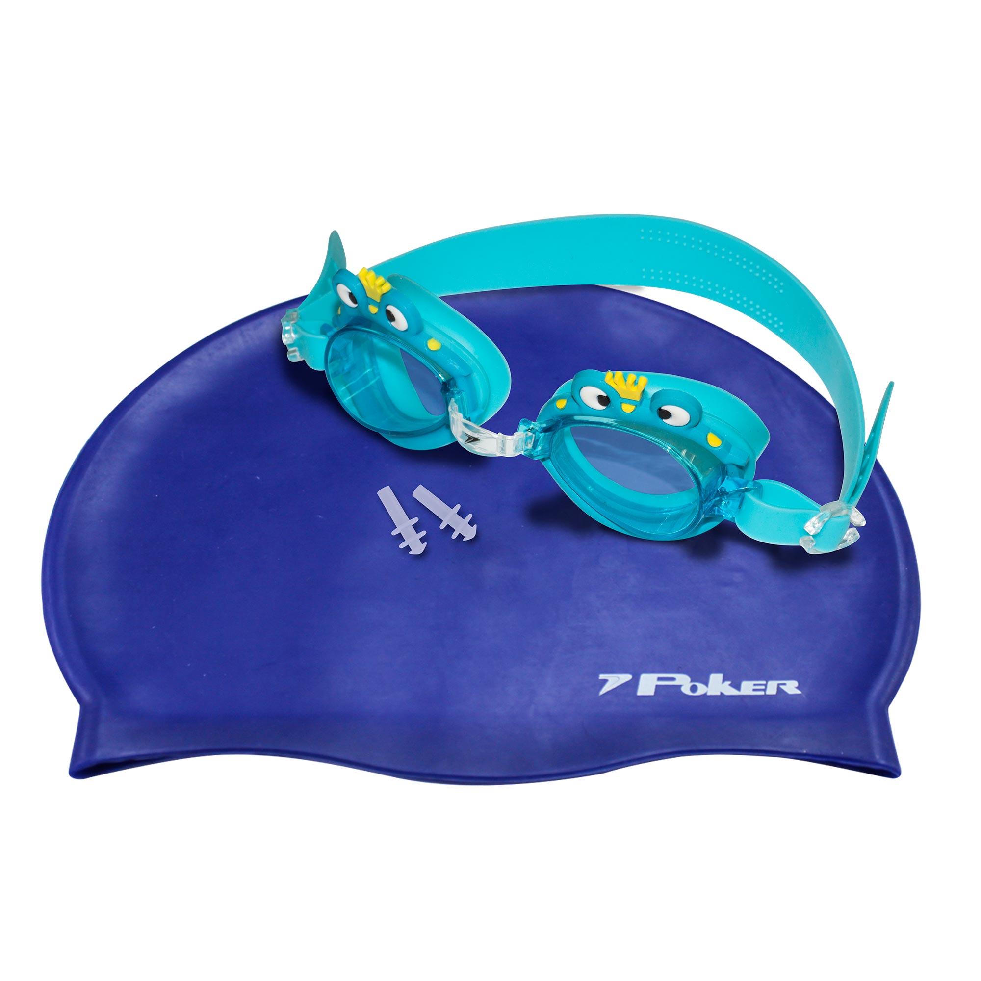 Kit Óculos + Touca + Protetor de Ouvido de Natação Infantil Cartoons 13103