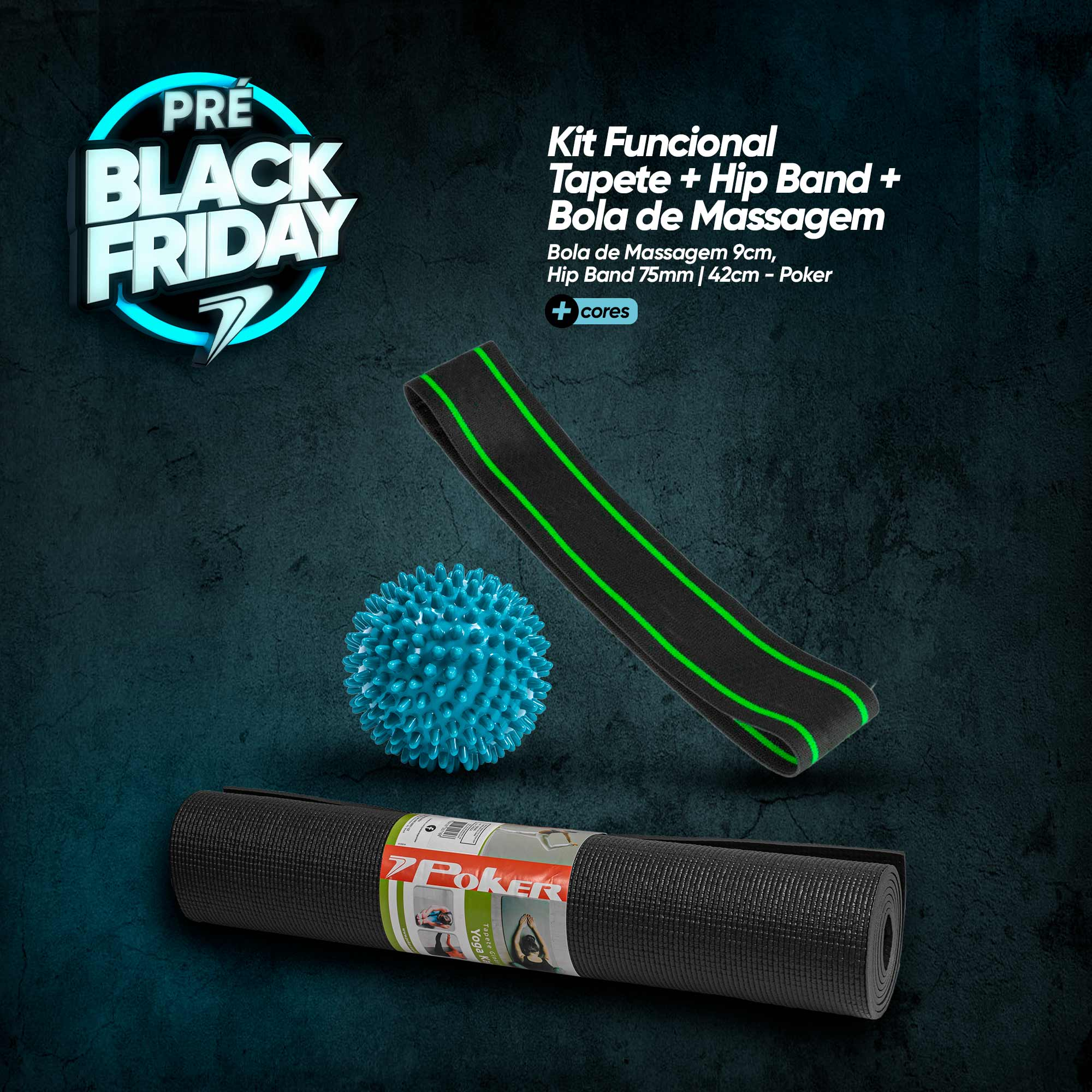 Kit Tapete Multiesportivo + Hip Band + Bola de massagem