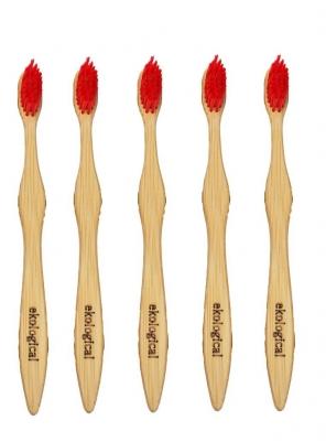 Kit de 5 Escovas de Dente Ecológicas de Bambú