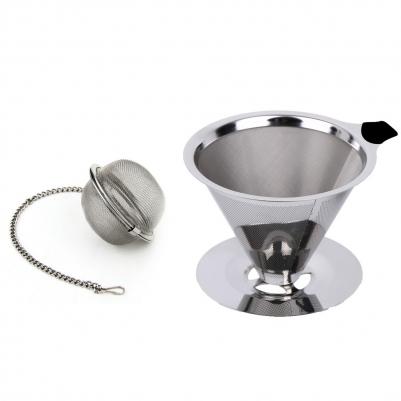 Filtro de Café Inox 102 e Infusor de Chá com Corrente