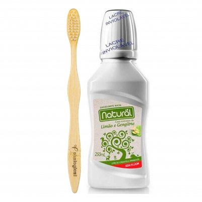 Escova de Dente de Bambu Branca e Enxaguante Bucal Natural 250g