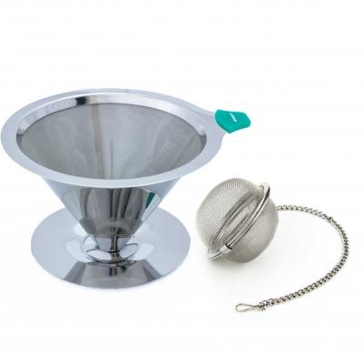 Filtro Coador de Café Aço Inox 103 e Infusor de Chá Inox com Corrente