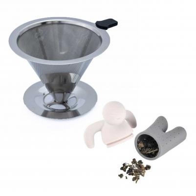Filtro Coador de Café de Aço Inox Premium 102 e Infusor de Chá Boneco