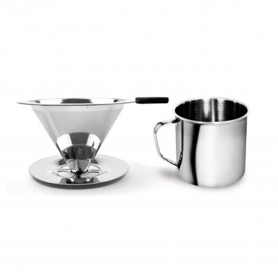 Filtro de Café Inox Portátil Individual com Base e Caneca de Inox 350ml