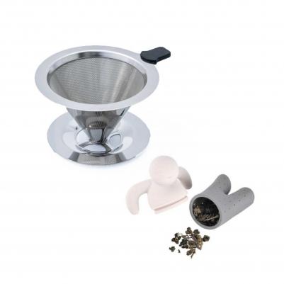 Filtro de Café Inox Portátil Individual com Base e Infusor de Chá Boneco