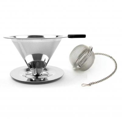 Filtro de Café Inox Portátil Individual com Base e Infusor de Chá de Inox com Corrente