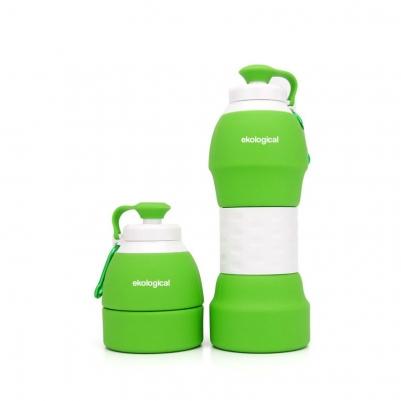 Garrafa Retrátil de Silicone Verde 580ml