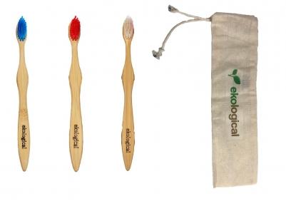 Kit 3 Escovas de Dentes Ecológicas com Bolsa de Algodão