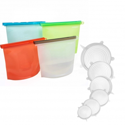Kit 4 Sacos de Silicone Reutilizável BPA Free 1000ml e Kit de 6 Tampas de Silicone Universal Branco