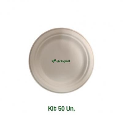 Kit 50 Pratos Biodegradáveis Ecologicas