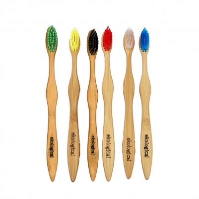 Kit 6 Escovas Coloridas de Bambu e 3 Pastas Natural Vegana