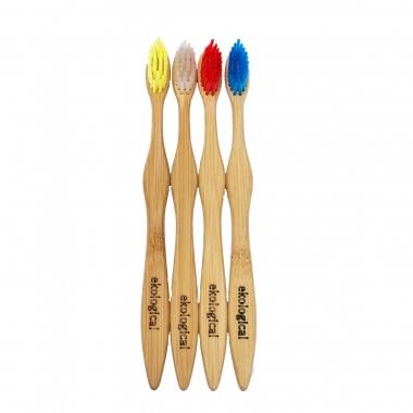 Kit de 4 Escovas de Dente Ecológicas de Bambú Nacional
